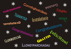 Congratulations Banner Multiple Languages Stock Image