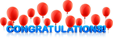 Congratulations banner with red balloons. Blue congratulations 3d banner with red balloons. Vector holiday illustration royalty free illustration