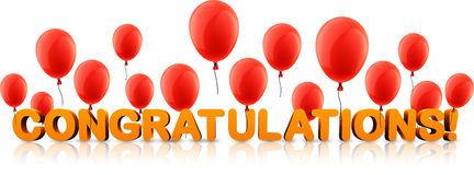 Congratulations banner with red balloons. Orange congratulations 3d banner with red balloons. Vector holiday illustration Royalty Free Stock Photos