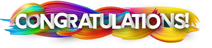 Congratulations paper banner with colorful brush strokes. vector illustration