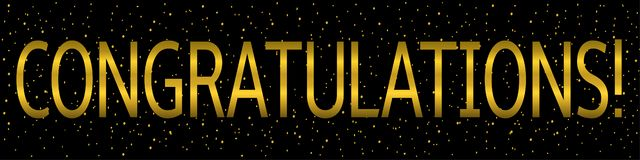 Congratulations banner template. Congratulations banner. Special offer, golden text with glitters and sparkles royalty free illustration