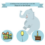 Congratulations birthday with a character elephant. A balloon, cake and gifts hand-drawing Stock Illustration