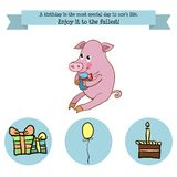 Congratulations birthday with a character pig Stock Images