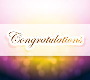 Congratulations bokeh light sign Stock Image