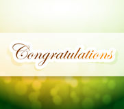 Congratulations bokeh light sign Stock Images