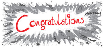 Congratulations Boom pencil black and red Stock Image