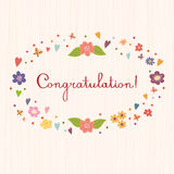 Congratulations. Bright and stylish vector text on a strip backg Stock Images