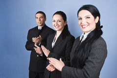 Congratulations!Business team clapping. Congratulations!Successful business team people clapping and smiling over blue background,check also Business people Stock Photography