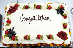 Congratulations Cake with Fruit Royalty Free Stock Image