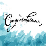 Congratulations calligraphy. Congratulations calligraphy in blue grunge. Vector Stock Illustration