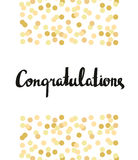 Congratulations Calligraphy. Congratulations Background with gold confetti. Royalty Free Stock Images