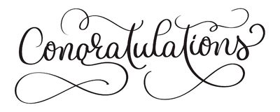 Congratulations calligraphy Lettering vector Hand written text on white background. Calligraphic banner.  Royalty Free Illustration
