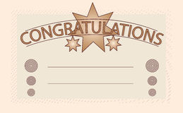 Congratulations card. In brown style with space for users text Stock Photo