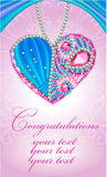 Congratulations card as heart of gems Royalty Free Stock Photography