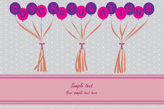 Congratulations card. With balloons , ribbons and gray polka dot Royalty Free Stock Images
