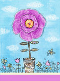 Congratulations card. A Big flower with knitted petals in a pot. Stock Photos