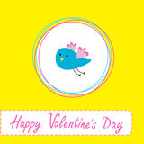 Congratulations card with cute blue bird. Happy Va Royalty Free Stock Photo