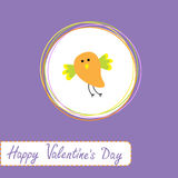 Congratulations card with cute orange bird. Happy  Stock Image