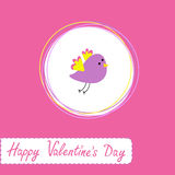 Congratulations card with cute violet bird. Happy  Royalty Free Stock Images