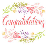 Congratulations card with flowers and calligraphy Stock Photography
