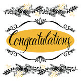 Congratulations card with forest herbs and calligr Stock Images