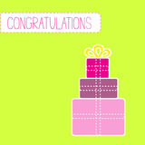 Congratulations card with gift boxes Royalty Free Stock Image