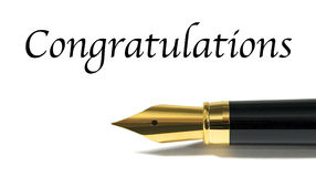 Congratulations. Card with golden fountain pen isolated on white Royalty Free Stock Photo