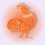 Congratulations card New Year 2017, crow red rooster with white ornament Stock Photography