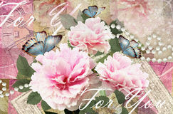Congratulations card with peonies, butterflies and pearls. Postcard flower. Congratulations card with peonies, butterflies and pearls. Beautiful spring pink Stock Photography