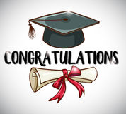 Congratulations card template with cap and degree. Illustration Vector Illustration