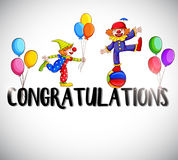 Congratulations card template with clowns in background. Illustration Royalty Free Stock Image
