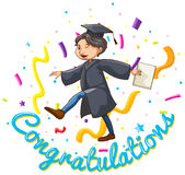 Congratulations card template with man holding degree Royalty Free Stock Image