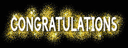 Congratulations Cards with Glittering Gold Text Shine Design Sto Royalty Free Stock Photo