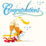 Congratulations with champagne glasses Stock Photography