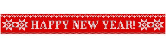 Happy new year knitted star. Congratulations on Christmas and New Year. Text on a red background in the form of a ribbon with a knitted fabric texture. Flat vector illustration