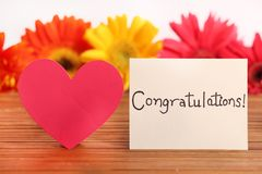 Congratulations. Concept shot of congratulations written on white chit stock images