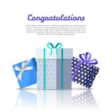 Congratulations Conceptual Web Banner in Flat Style. Colorful gift boxes with ribbons on background. Illustration for decoration, event management companies Royalty Free Stock Images