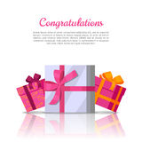Congratulations Conceptual Web Banner in Flat Style Royalty Free Stock Photography