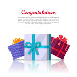 Congratulations Conceptual Web Banner in Flat Style Stock Image