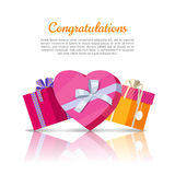Congratulations Conceptual Web Banner in Flat Style Stock Images