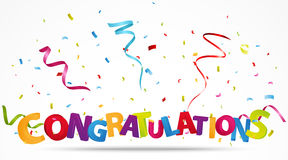 Congratulations with confetti Stock Images