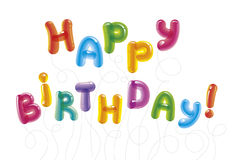Congratulations with the day of birth. Baloon text. Birthday greeting card Stock Image