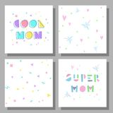 Congratulations on the day of mother. Collection of postcards and backgrounds for the mother`s day. Fonts have a geometric cartoon style of writing. Prints Stock Images