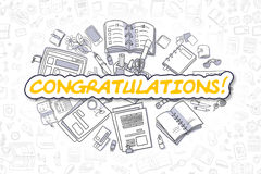 Congratulations - Doodle Yellow Text. Business Concept. Stock Photo