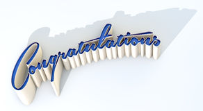 Congratulations Extruded Text. An extruded curvy text spelling out the word congratulations casting a long grey shadow on an isolated white studio background Stock Image