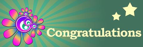 Congratulations Floral Banner Stock Photo