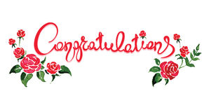 Congratulations with flowers Royalty Free Stock Photography