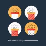 Congratulations gift box, perfect present, prize award icon Stock Photo