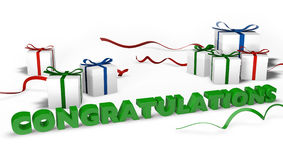Congratulations with gift boxes Royalty Free Stock Images