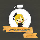 Congratulations for girl short hair graduate Stock Images